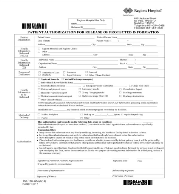 Hipaa Release Form Kaiser | Example Business Plan Excel