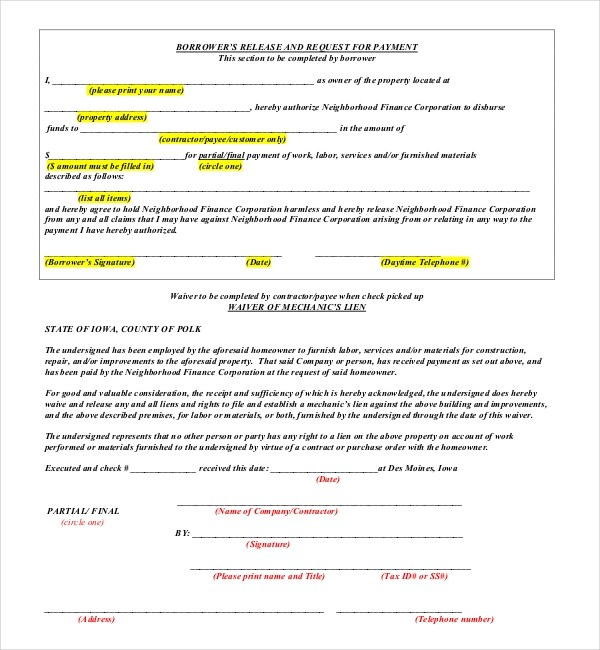 Construction Release Form Product Liability Template ~ Sle Lien