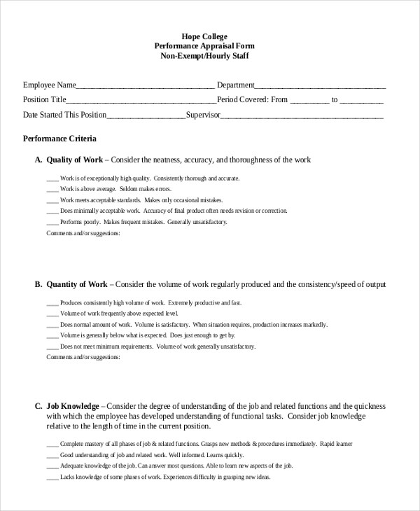 Doc#600650 Employee Monthly Review Template u2013 Sample Employee - monthly performance review template