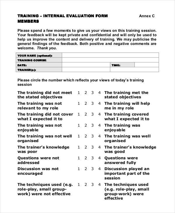Sample Training Feedback Forms - 16+ Free Documents in PDF, Doc