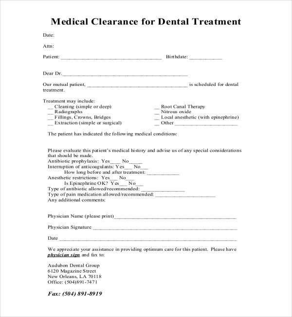 27+ Sample Medical Clearance Forms Sample Forms - medical clearance forms