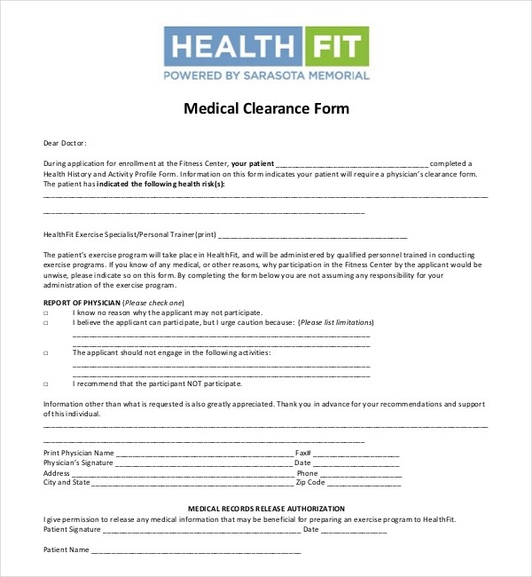 27+ Sample Medical Clearance Forms Sample Forms