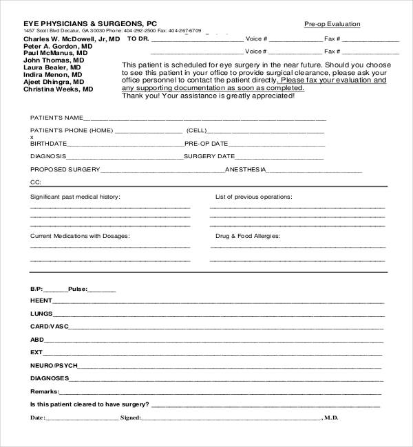 Medical Home MedicalClearance AD Surgical - dinosauriensinfo - medical clearance forms