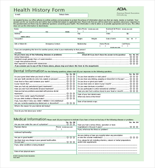 21+ Sample Medical History Forms Sample Forms
