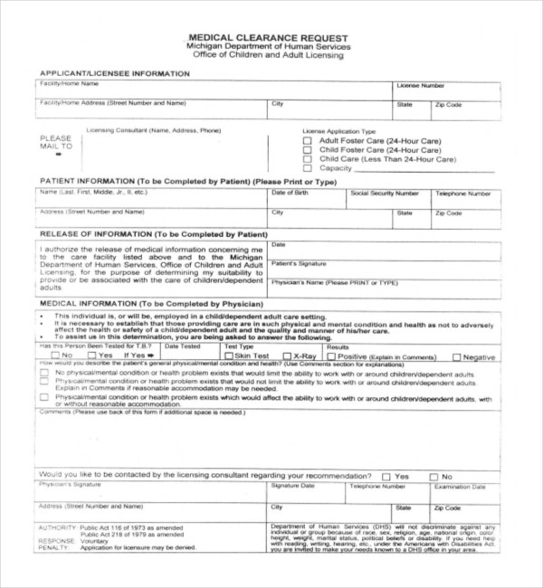 medical clearance forms dzeo