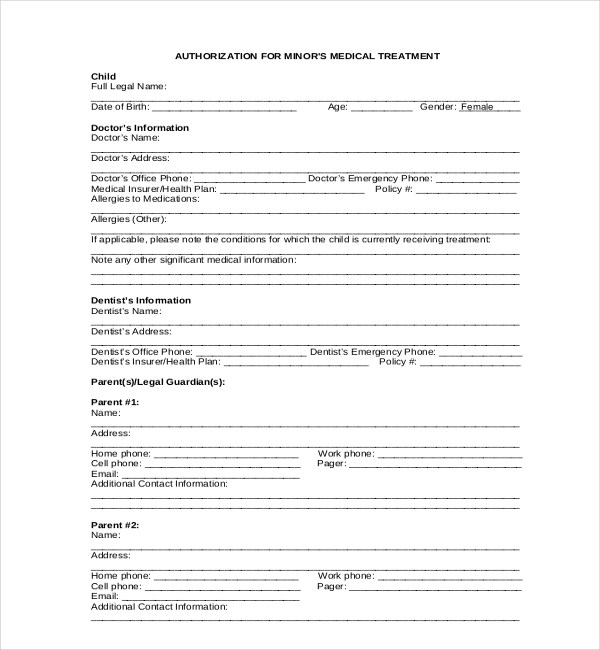 Medical Release Form For Minor Emergency Medical Release Form