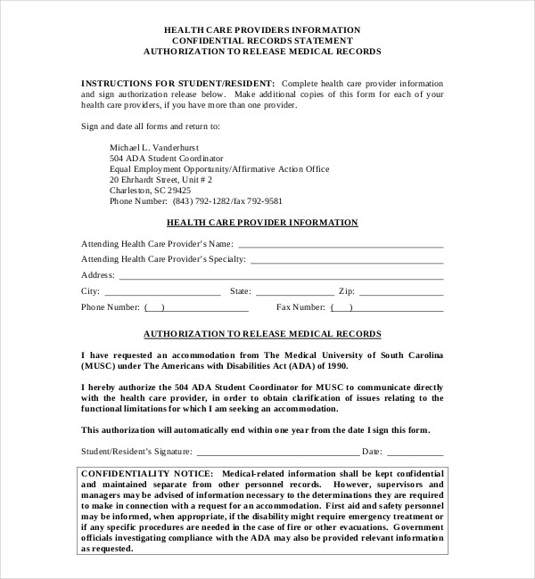 medical records release form generic - Militarybralicious - medical records release form