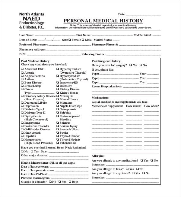 21+ Sample Medical History Forms Sample Forms - sample medical history form