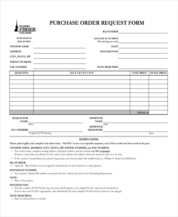 11+ Sample Purchase Order Forms Sample Forms