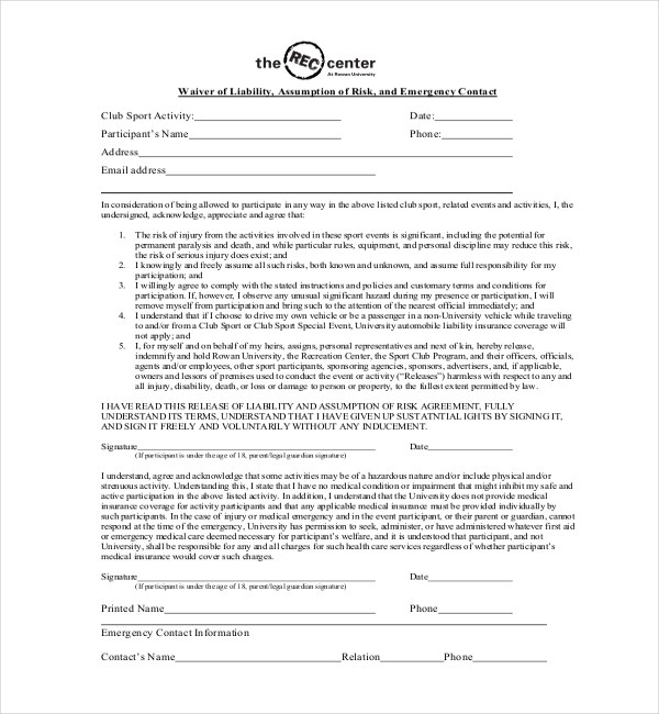sports waiver forms 8 Fantastic Vacation Ideas For Sports