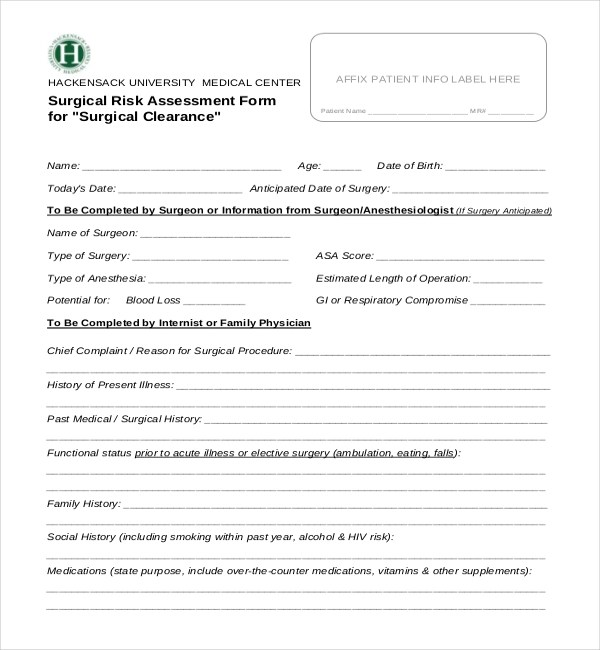 Dental Medical Clearance Form Template - medical clearance forms