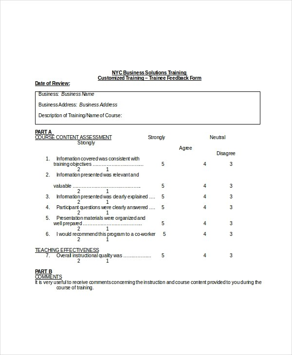 Sample Training Feedback Forms - 16+ Free Documents in PDF, Doc - training feedback form