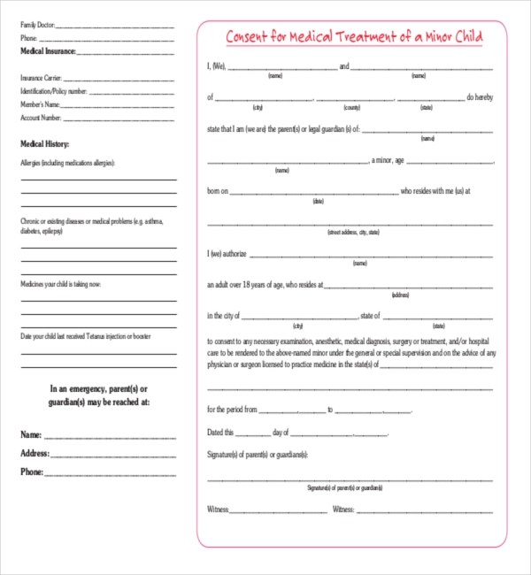 Sample Child Medical Consent Form Free Child Medical Consent Form - sample child medical consent form