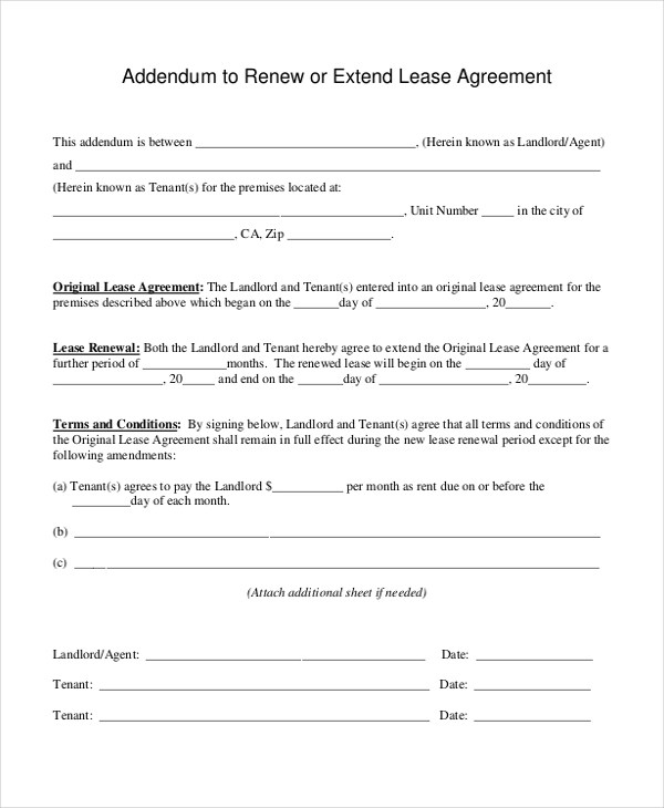 Sample Lease Renewal Forms - 10+ Free Documents in PDF, Doc - lease agreement form
