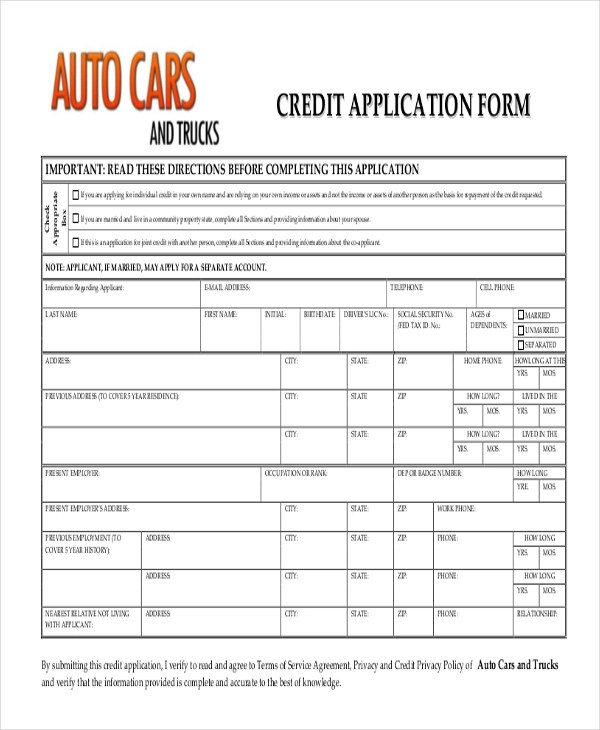 Auto Credit Application Form Pdf | Student Recommendation Letter