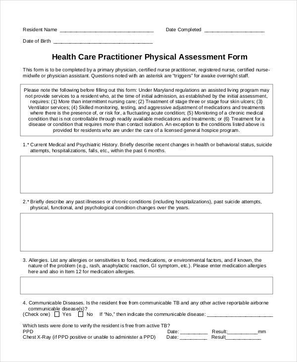 Sample Physical Assessment Forms - 8+ Free Documents in PDF, Word - free assessment forms