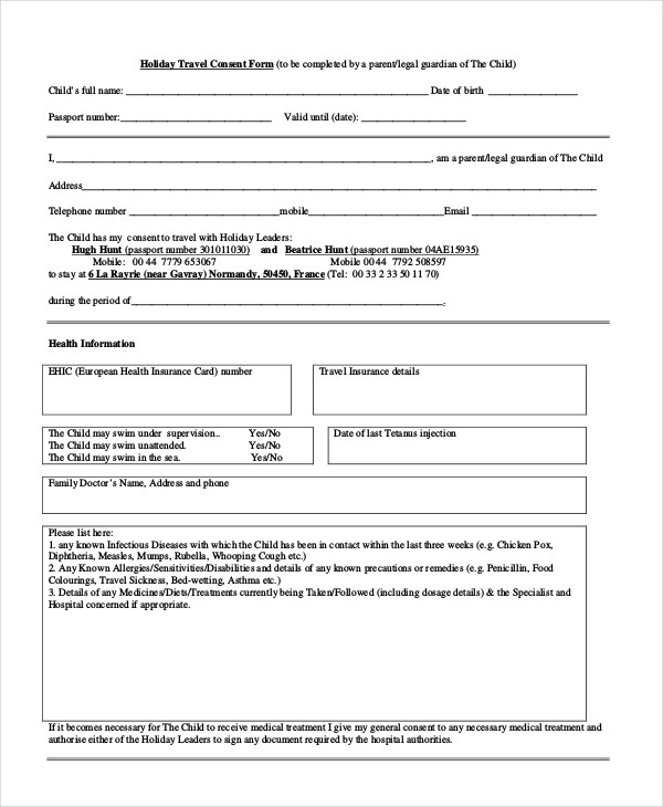 consent of child travel form affidavit of parental travel consent – One Parent Travel Consent Form
