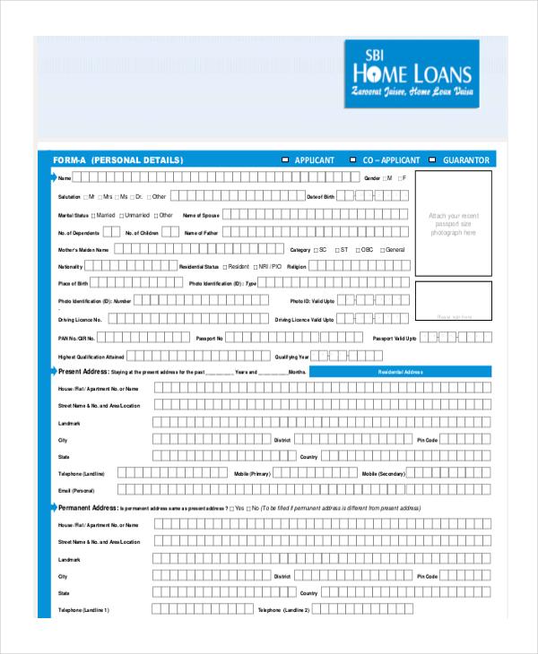 sample loan application form personal loan