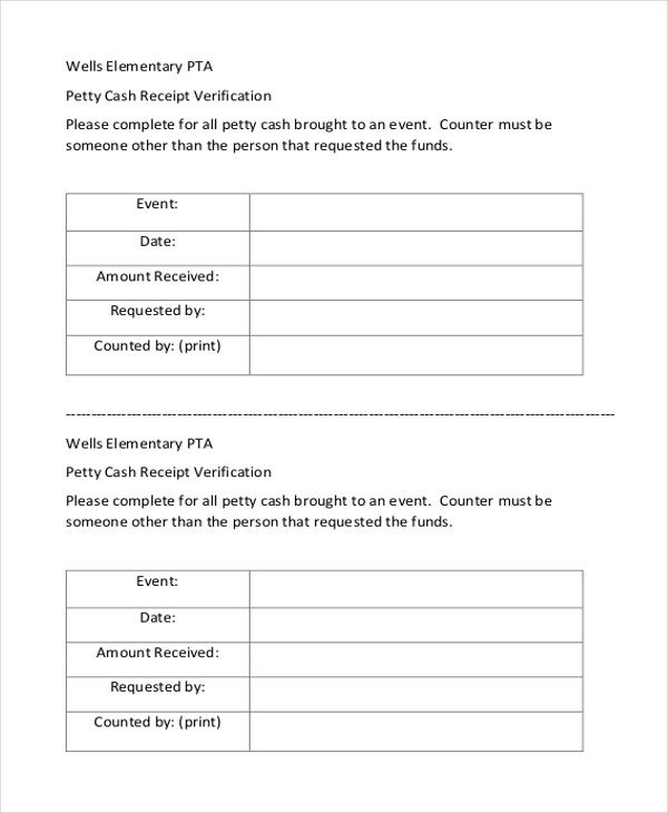 Sample Petty Cash Receipt Form - 8+ Free Documents in Word, PDF - Cash Recepit