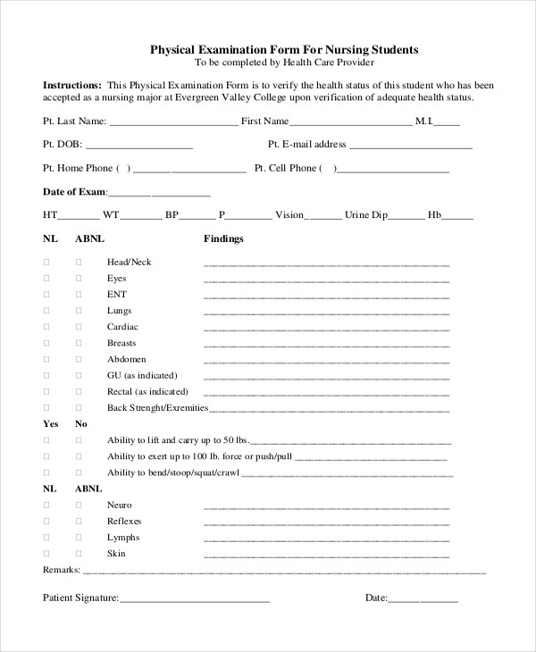 Physical Assessment Form Template Inspirational Sample