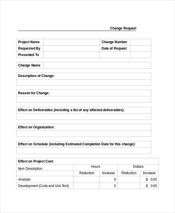 Sample Change Order Request Forms - 8+ Free Documents in PDF, Word