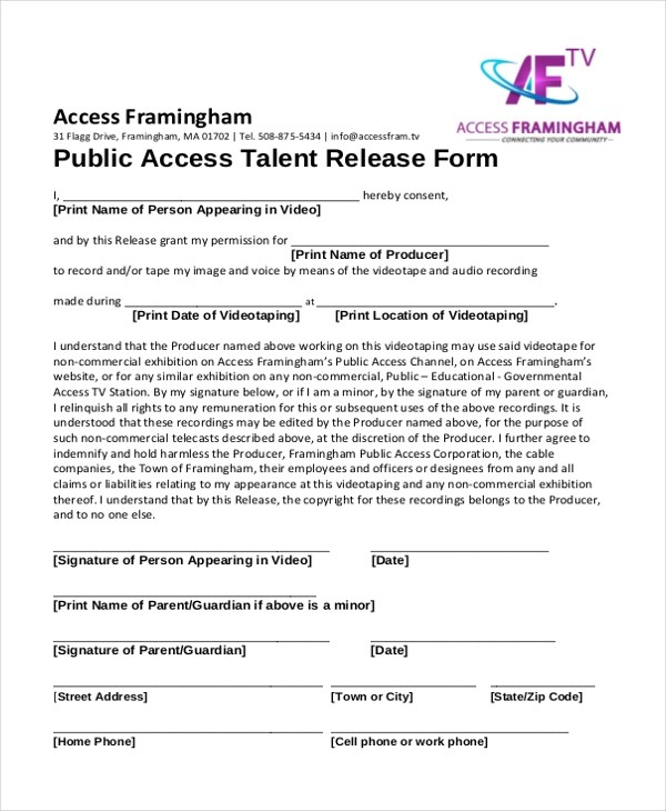 Sample Talent Release Form - 10+ Free Documents in Word, PDF - talent release form template