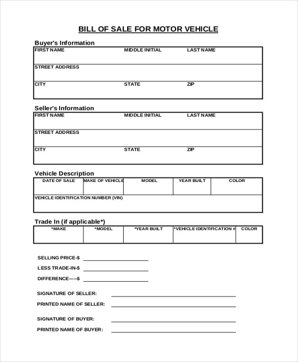 Vehicle Bill Of Sale Free Blank Form Apollos Templates Sample Sales Receipt Form 9 Free Documents In Pdf