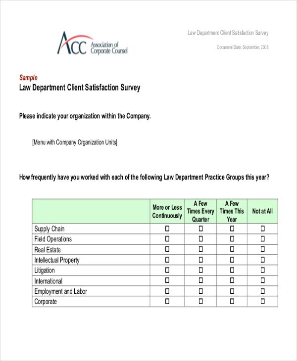 satisfaction questionnaire sample