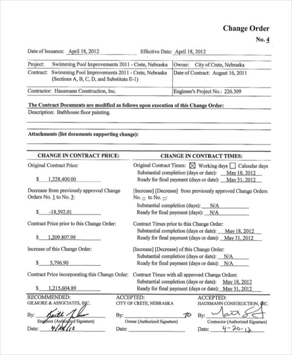 Top Result 64 Elegant Construction Change order form Photos 2018 - construction change order form
