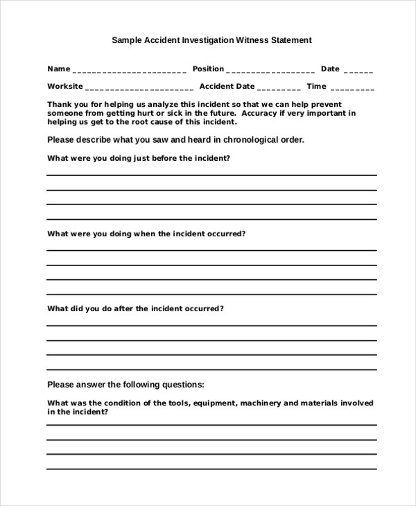 Sample Witness Statement Form - 10+ Free Documents in Word, PDF - free statement forms