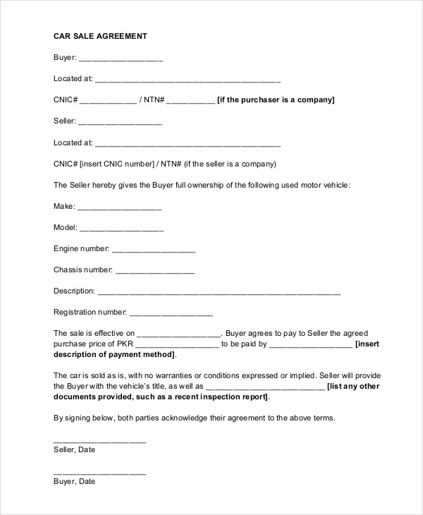 Sample Car Sale Contract Forms - 8+ Free Documents in PDF, Doc - Car Sales Contracts
