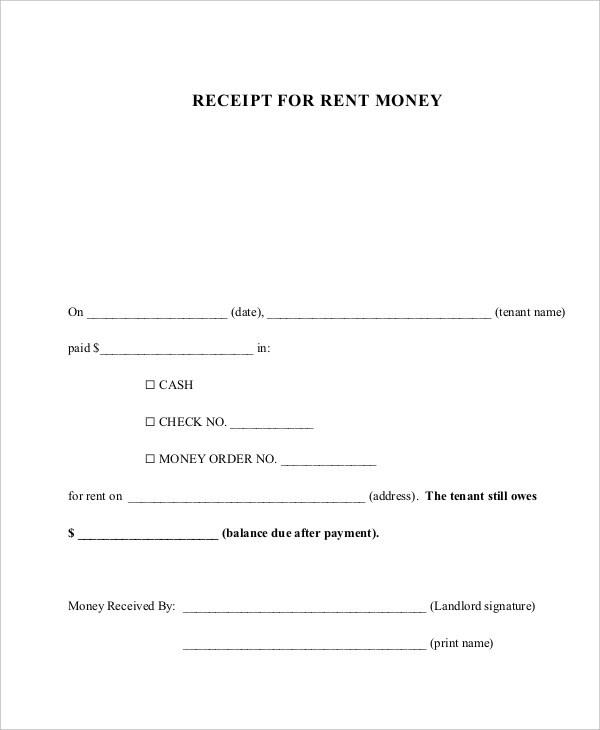 Sample Rent Receipt Form - 10+ Free Documents in PDF