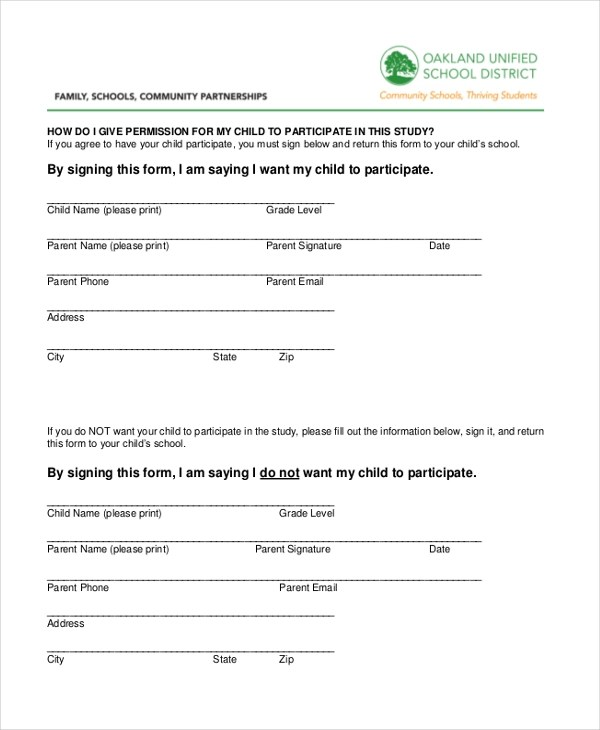 Survey Consent Forms - vaccine consent form template