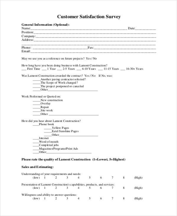 Sample Customer Satisfaction Form - 6+ Free documents in PDF - sample client satisfaction survey