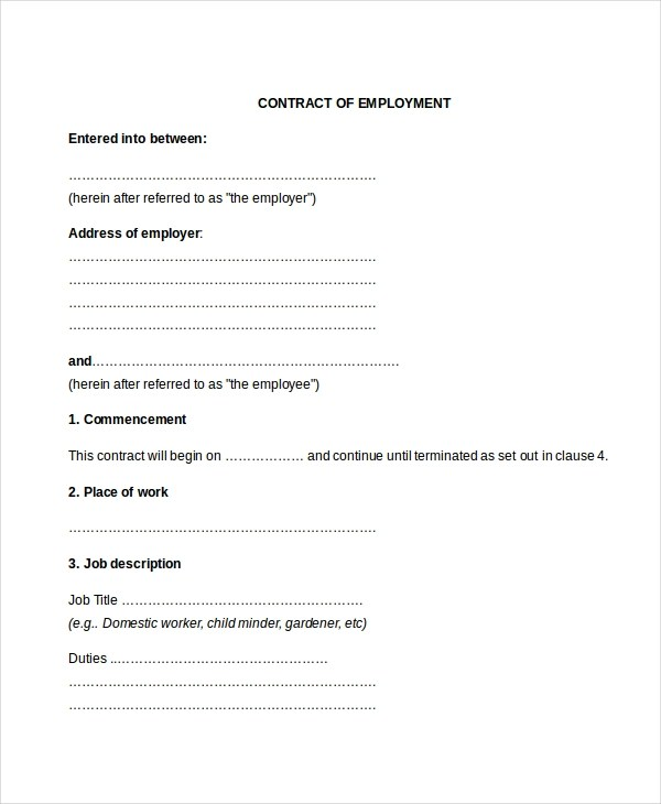 Sample Employment Contract Forms - 11+ Free Documents in PDF, Doc - labour contract template