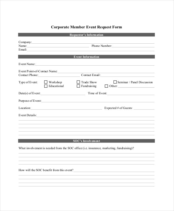 14+ Sample Event Request Forms Sample Forms - request for information forms template