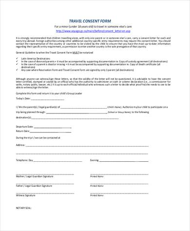 travel consent form sample lukex - travel consent form sample