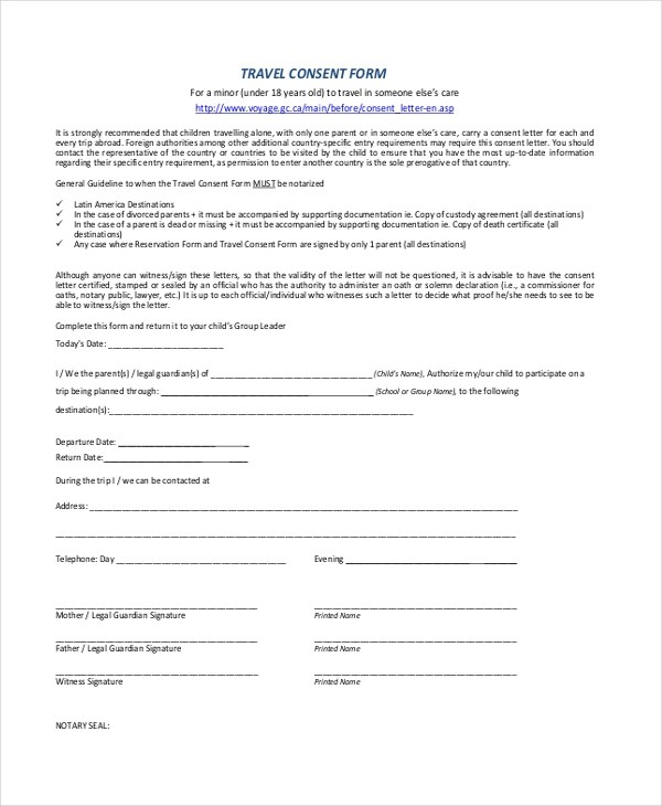 Parental Travel Consent oakandale - child travel consent form usa