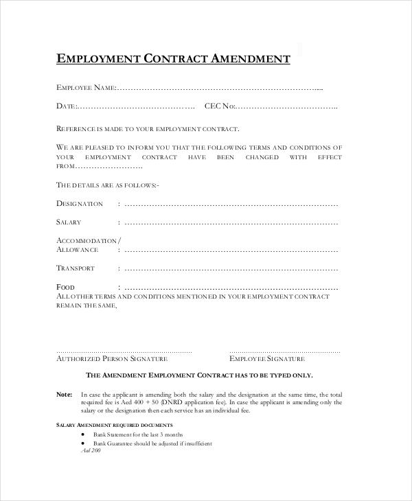 Contract Amendment Template - Costumepartyrun