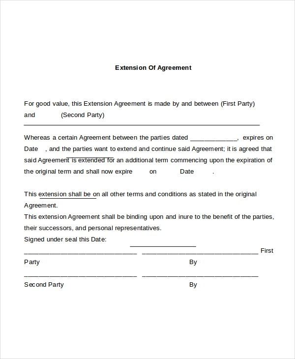 contract extension template