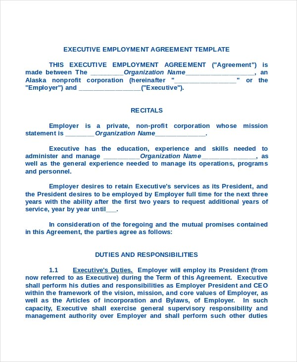 Executive Agreement Template Official Letter Format How Write - sample executive agreement