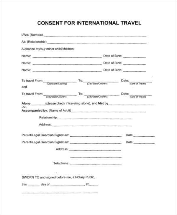 travel consent form sample | resume-template.paasprovider.com