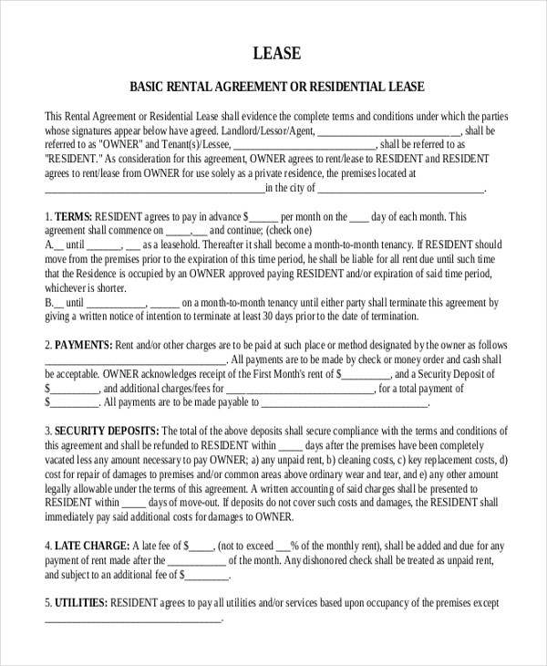 Sample Month to Month Lease Form - 6+ Free Documents in PDF, Word - month to month lease agreement example
