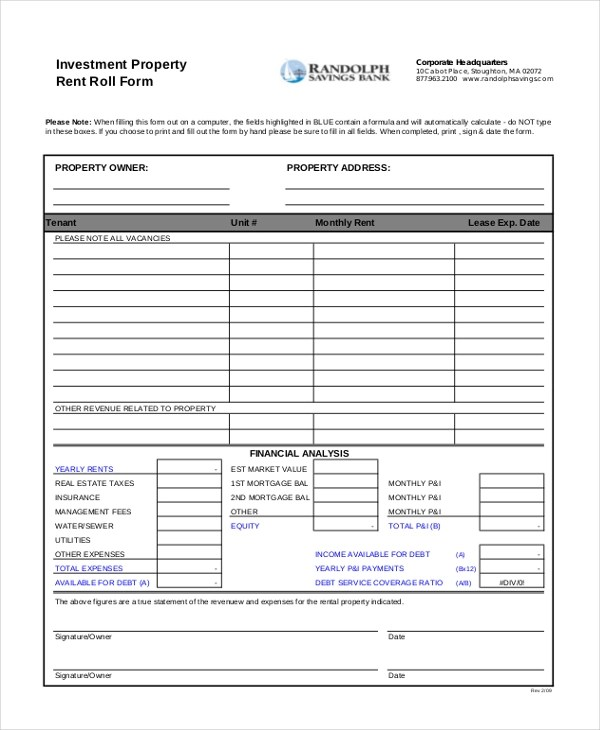 Sample Rent Roll Forms - 10+ Free Documents in PDF, Xls