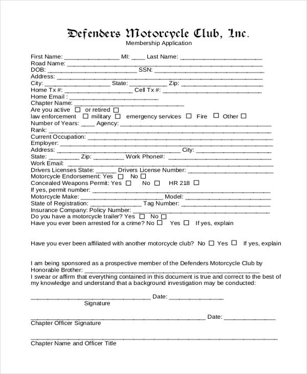 12+ Sample Membership Application Forms Sample Forms - membership forms templates