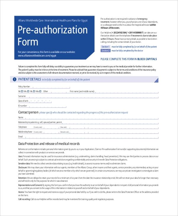 pre authorization credit card
