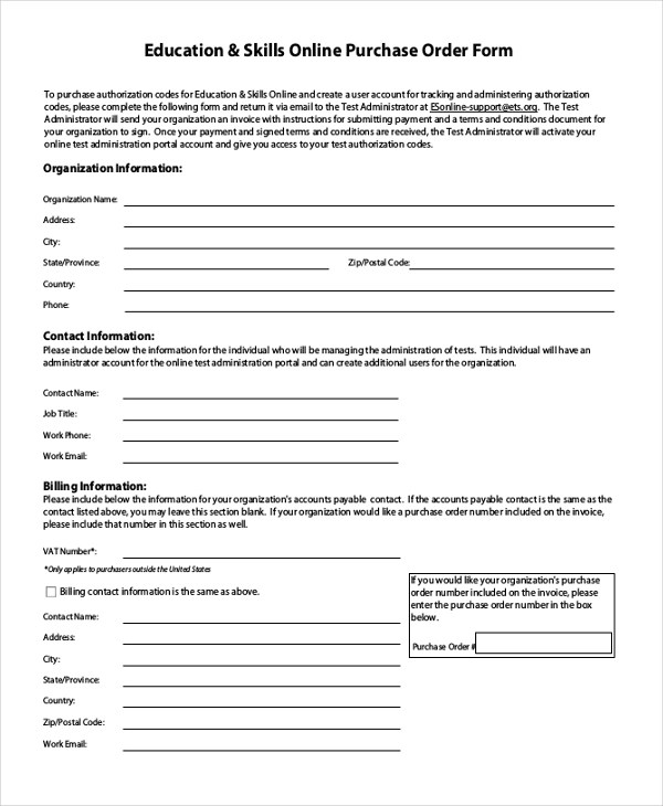 Sample Blank Purchase Order Form - 11+ Free Documents in Word, PDF - purchase order formats