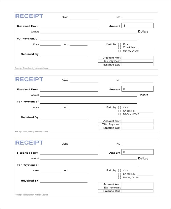 Sample Printable Receipt Form - 10+ Free Documents in PDF - Paid In Full Receipt Template