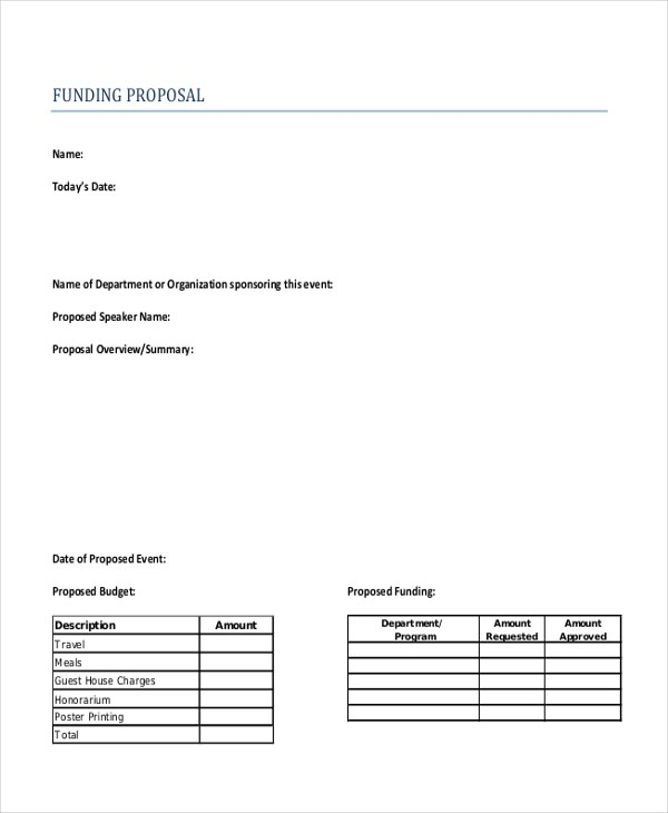 Sample Funding Proposal Form - 10+ Free Documents in Word, PDF - funding proposal template