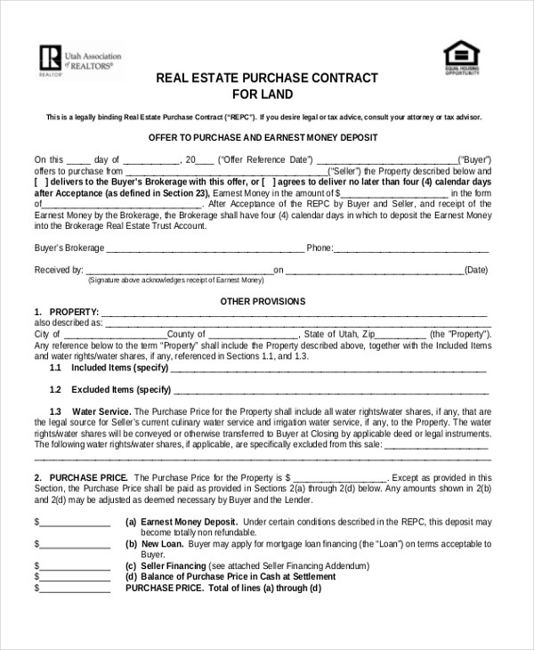 Land Sales Contracts Sales Contract Form Rent To Own Contract